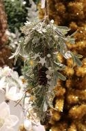 """XM12166GOFR Frost Mixed Mistletoe Pinecone Swag Gold 20"""""""