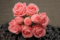 """PA10121PK Rose Bqt 6 Flowers 3 Buds (Nat Touch) Pink 18""""  ***INSTOCK***"""