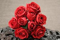 """PA10121RD Rose Bqt 6 Flowers 3 Buds (Nat Touch) Red 18""""   ***INSTOCK***"""
