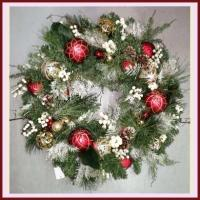 """XZ10074RDGO Mixed Pine White Berry Ornament Wreath Red Gold 30"""""""